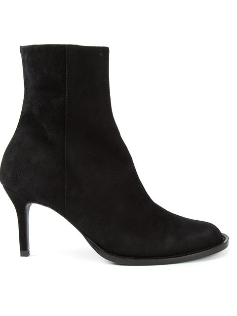 Panel-detail suede heeled ankle boots