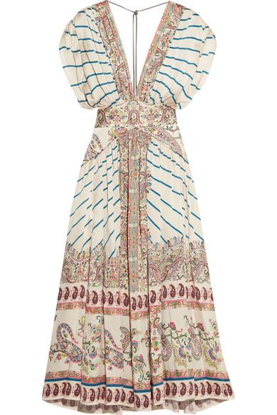 Etro Silks Pleated printed silk-satin twill maxi dress
