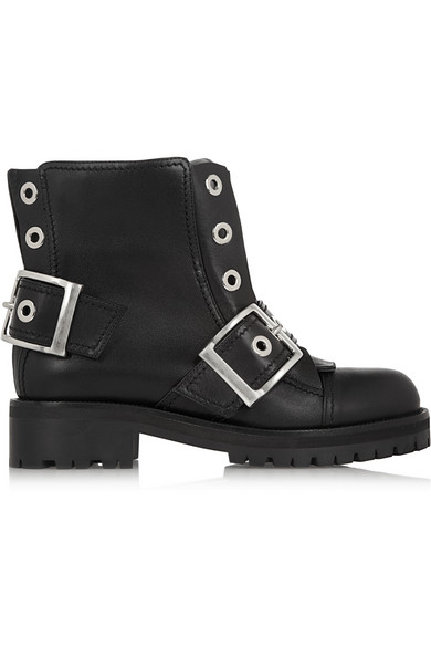 Black Leather New 39S Wolf Biker Boots