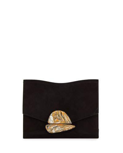 Proenza Schouler Leathers NEW SMALL SUEDE CLUTCH BAG, BLACK