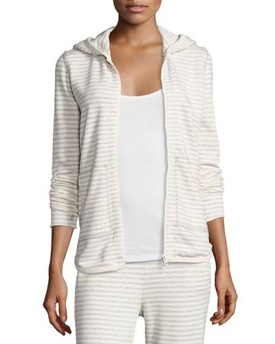 Atm Anthony Thomas Melillo Cottons HOODED STRIPED TERRY SWEATSHIRT, HEATHER GRAY/OATMEAL