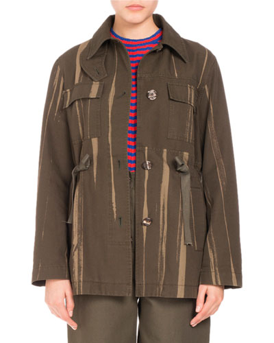 Proenza Schouler Cottons FOUR-POCKET PRINTED CANVAS COAT, ARMY GREEN