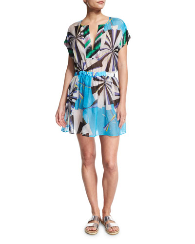 PARASOL HAMMERED SILK COVERUP DRESS, TURQUOISE (TURCHESE)