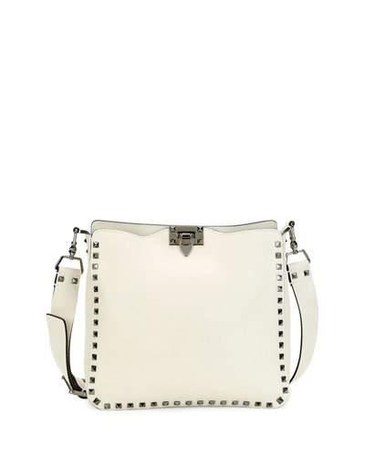 Valentino Leathers Rockstud Small Flip-Lock Hobo Bag