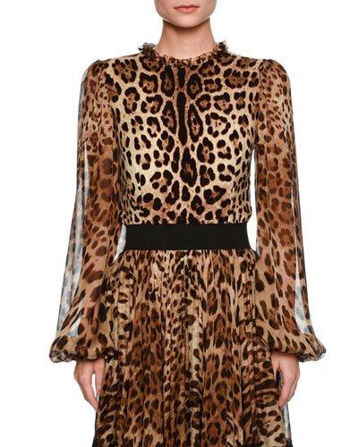 Dolce & Gabbana Silks LEOPARD-PRINT SHEER-SLEEVE BLOUSE, BROWN/BLACK LEOPARD