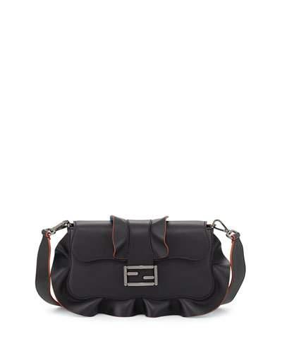 Fendi Shoulder bags Baguette Wave Leather Bag, Black/Blue