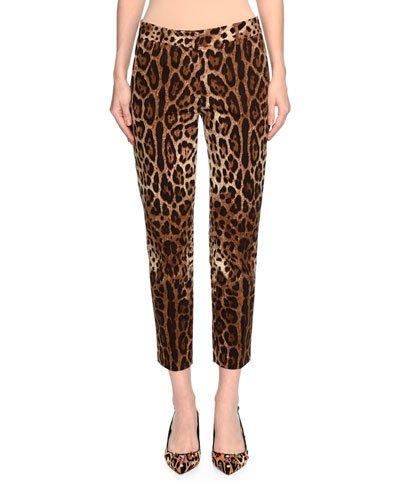 Dolce & Gabbana Cottons LEOPARD-PRINT ANKLE PANTS, BROWN/BLACK