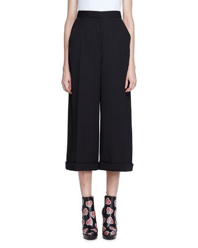 Alexander Mcqueen Linings HIGH-WAIST WIDE-LEG CUFFED PANTS, BLACK