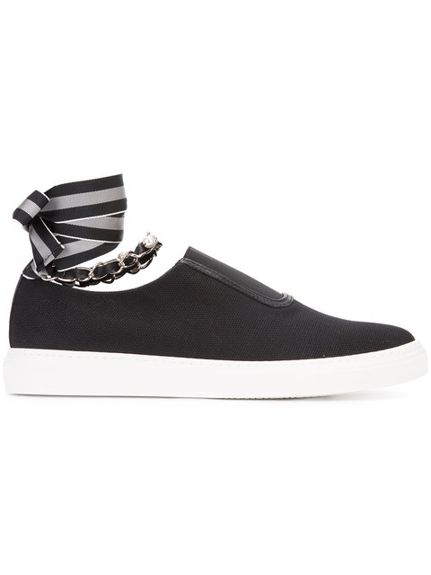 WOMAN LACE-UP EMBELLISHED CANVAS SLIP-ON SNEAKERS BLACK