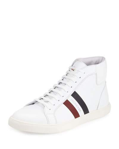 MONCLER Leathers MONTE CARLO STRIPED LEATHER HIGH-TOP SNEAKER, WHITE