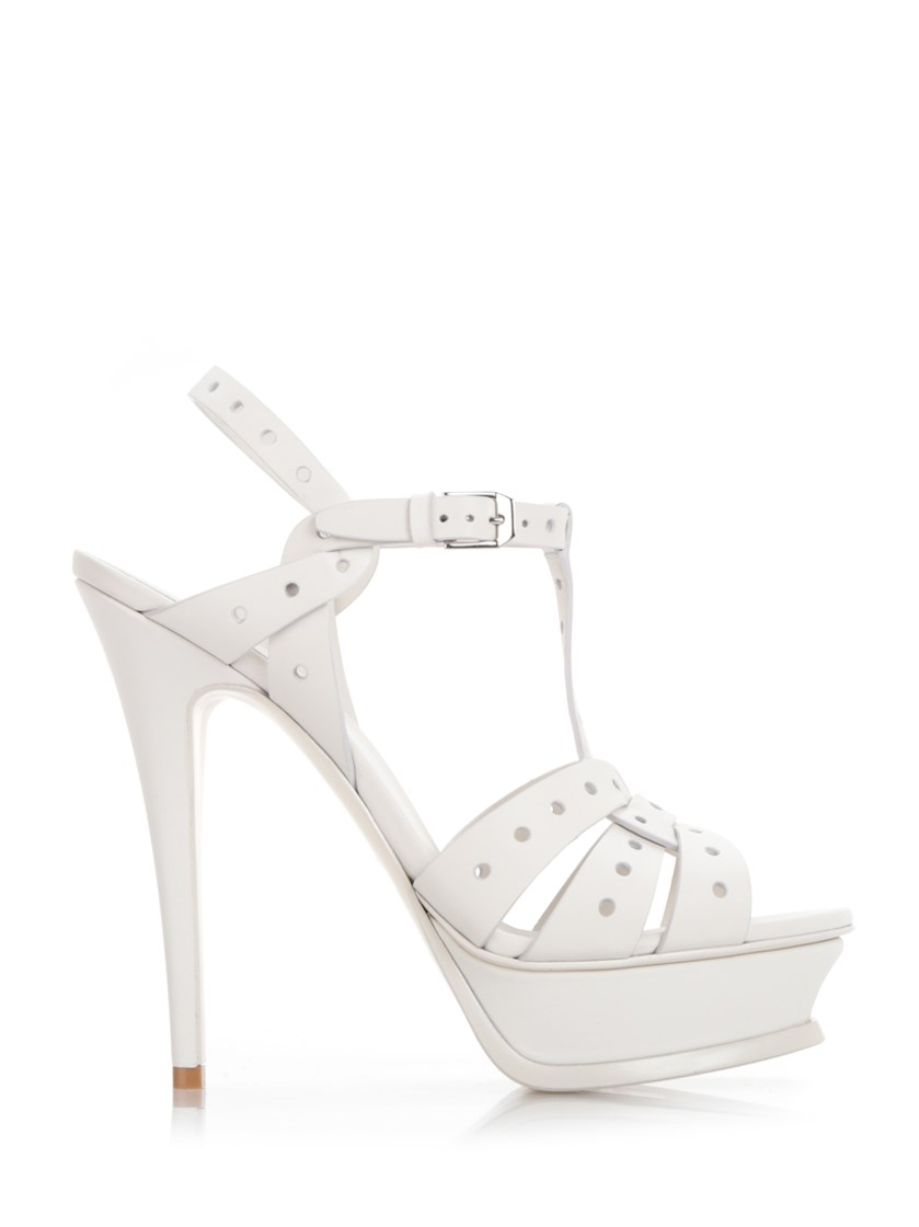 SAINT LAURENT 'Tribute 105' White Sandals