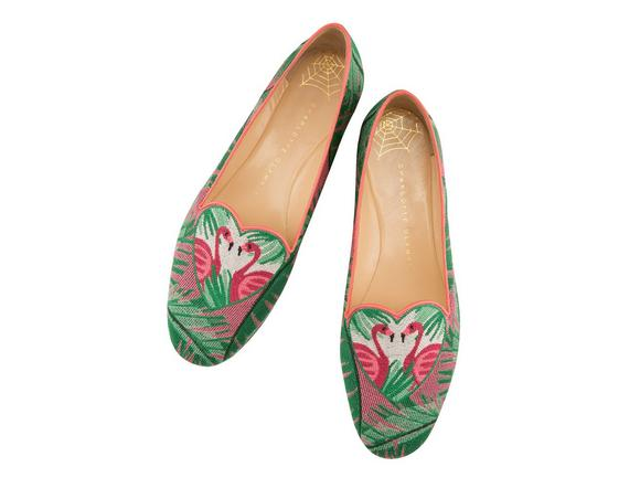 FLAMINGO LEATHER-TRIMMED EMBROIDERED CANVAS SLIPPERS