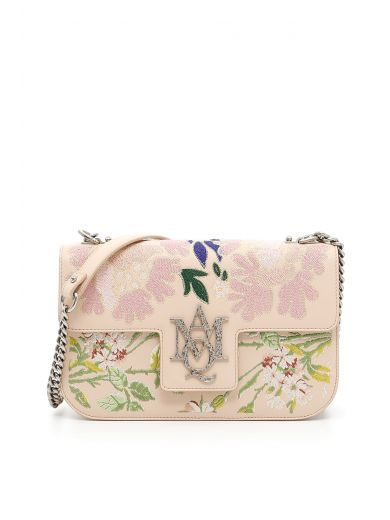 ALEXANDER MCQUEEN Insignia Floral-Embroidered Leather Chain Satchel in Pink/Multi|Rosa