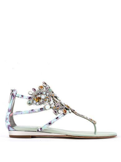 René Caovilla Crystals René Caovilla Jewel Embellished Flat Sandals
