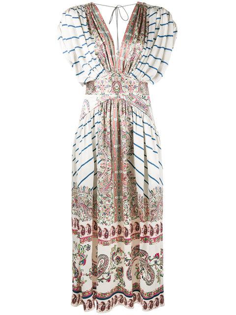 Etro Silks V-neck paisley print dress