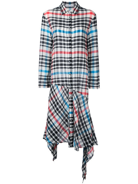 checked asymmetric dress