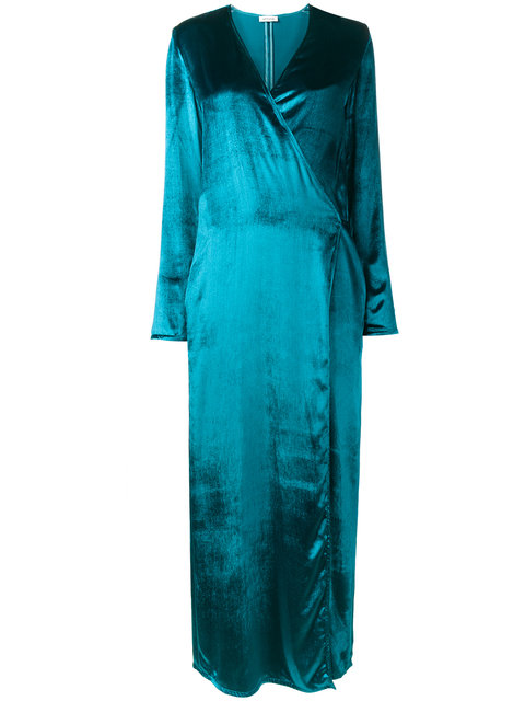 Attico Blue Racquel Velvet Wrap Dress Additional