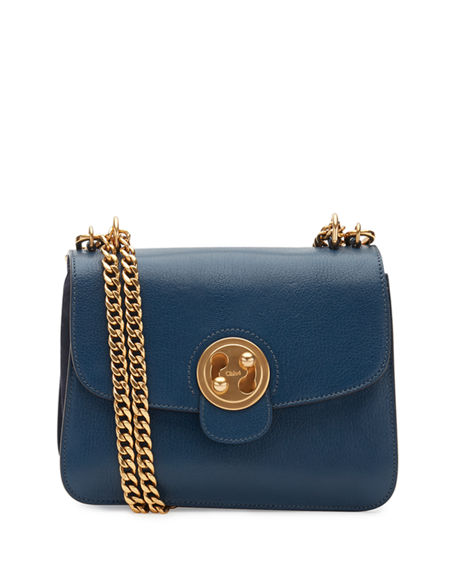 Chloé Leathers MILIE MEDIUM TURN-LOCK CHAIN SHOULDER BAG, BLUE