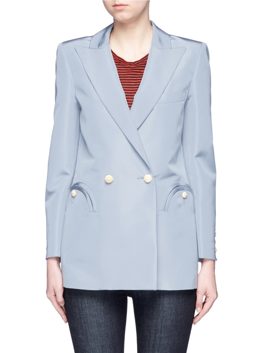 Blazé Milano 'Everyday Shamrock Sky' bamboo button silk blazer