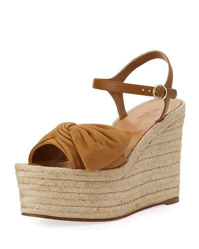 Valentino Suedes TROPICAL BOW ESPADRILLE WEDGE SANDAL