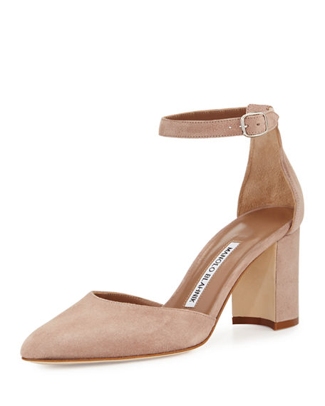 LAUSAM SUEDE ANKLE-WRAP PUMP, TAUPE