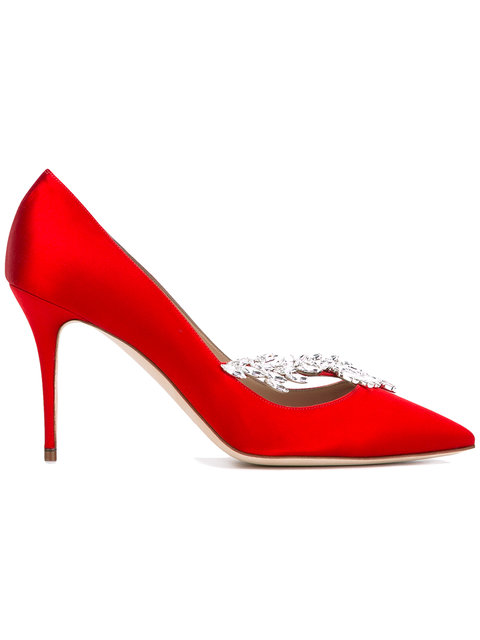 RED NADIRA CRYSTAL 95 SATIN PUMPS