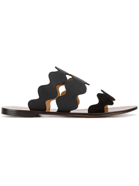 Black Lauren Leather Slides
