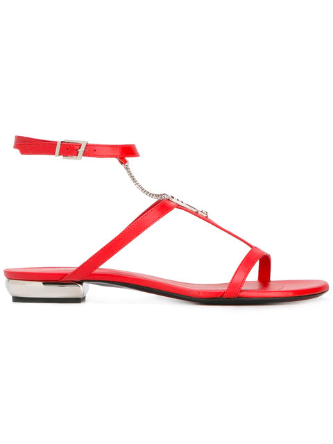 SHOES RED FLAT SANDAL WITH CHAIN - RED