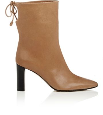 THE ROW Back-Tie Leather Ankle Boots in Tan,No Color