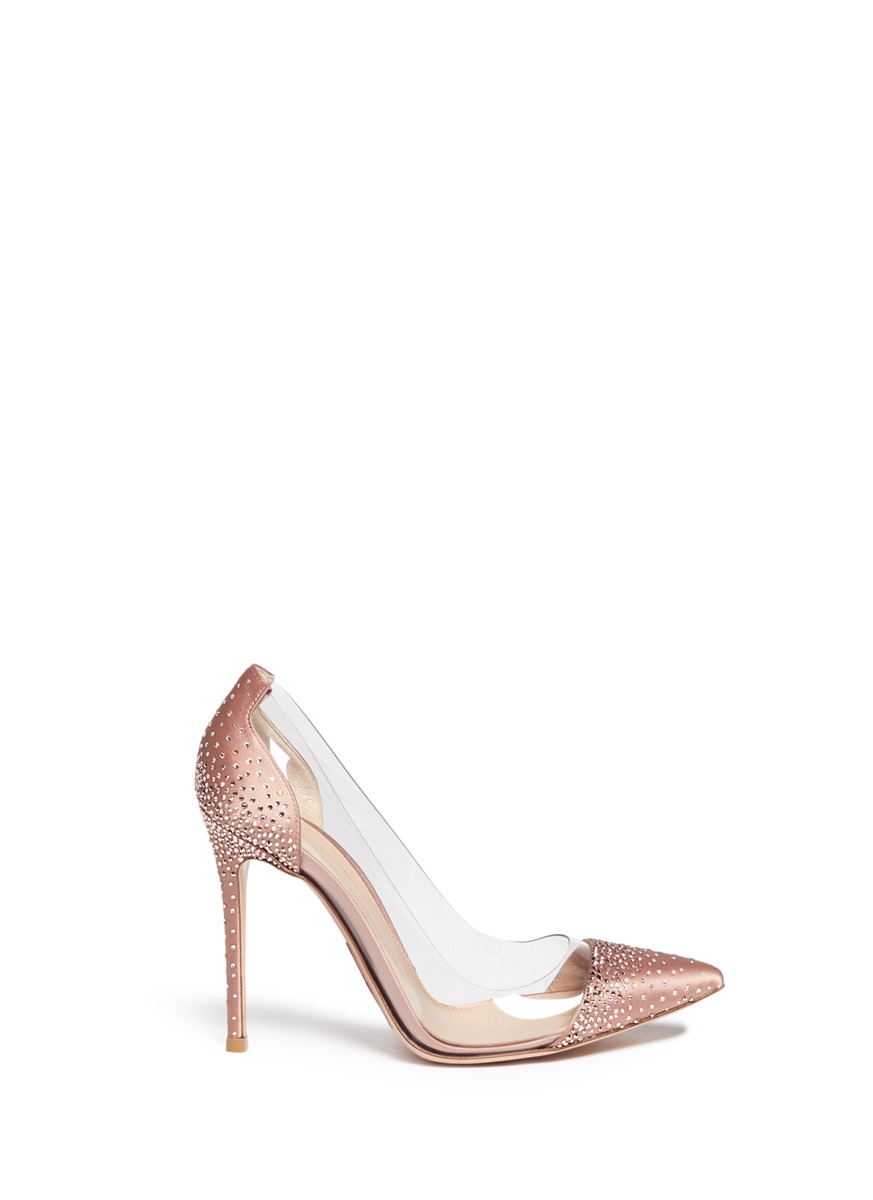 'Crystal Plexi' embellished clear PVC satin pumps