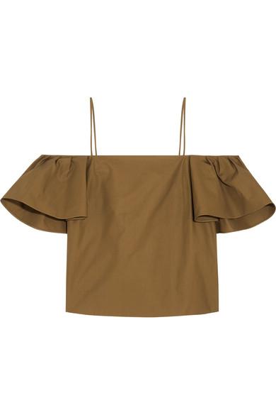 Fendi Cottons Off-the-shoulder cotton-poplin top