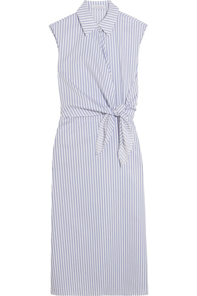 J.W.ANDERSON Knotted Striped Cotton Shirt Dress in White Llue