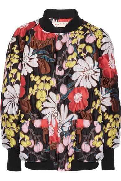 Marni Bomber jackets Oversized floral-print matelassé bomber jacket