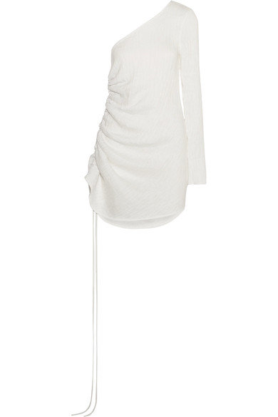 Georgia Alice One-shoulder ruched textured-crepe dress
