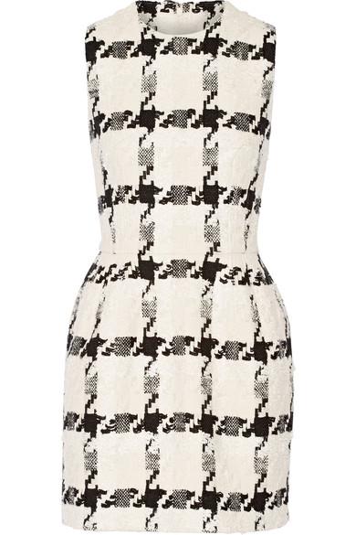 Alexander Mcqueen Silks Houndstooth tweed mini dress