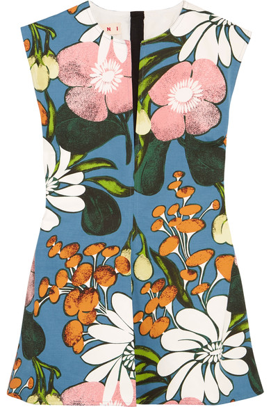 Marni Linens Floral-print cotton and linen-blend twill top