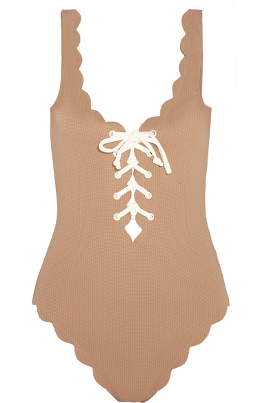 Marysia One-pieces Palm Springs lace-up scalloped swimsuit