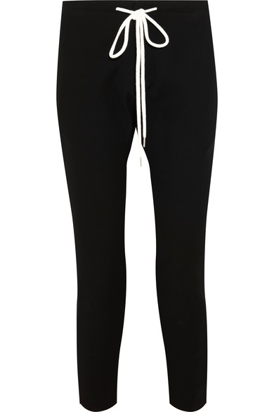 CROPPED COTTON-BLEND JERSEY TRACK PANTS