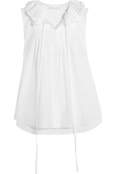 Chloé Cottons Pussy-bow broderie anglaise-trimmed cotton-poplin top
