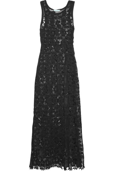 WOMAN GUIPURE LACE MAXI DRESS BLACK