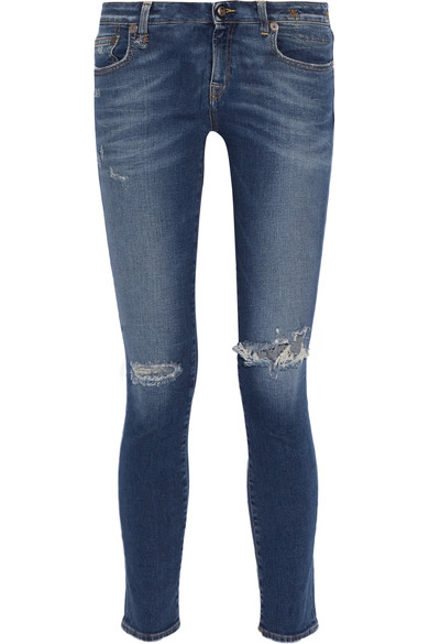WOMAN KATE DISTRESSED LOW-RISE SKINNY JEANS MID DENIM