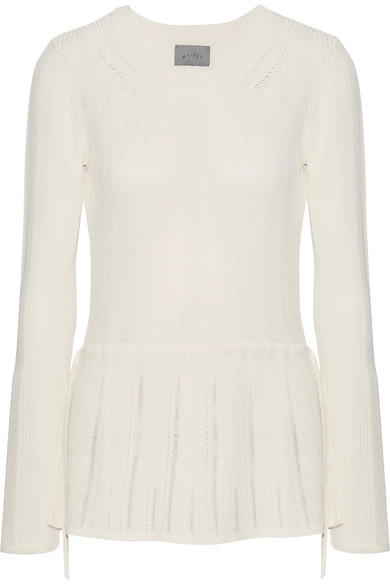 MAIYET WOMAN POINTELLE-TRIMMED RIBBED STRETCH-KNIT PEPLUM SWEATER WHITE