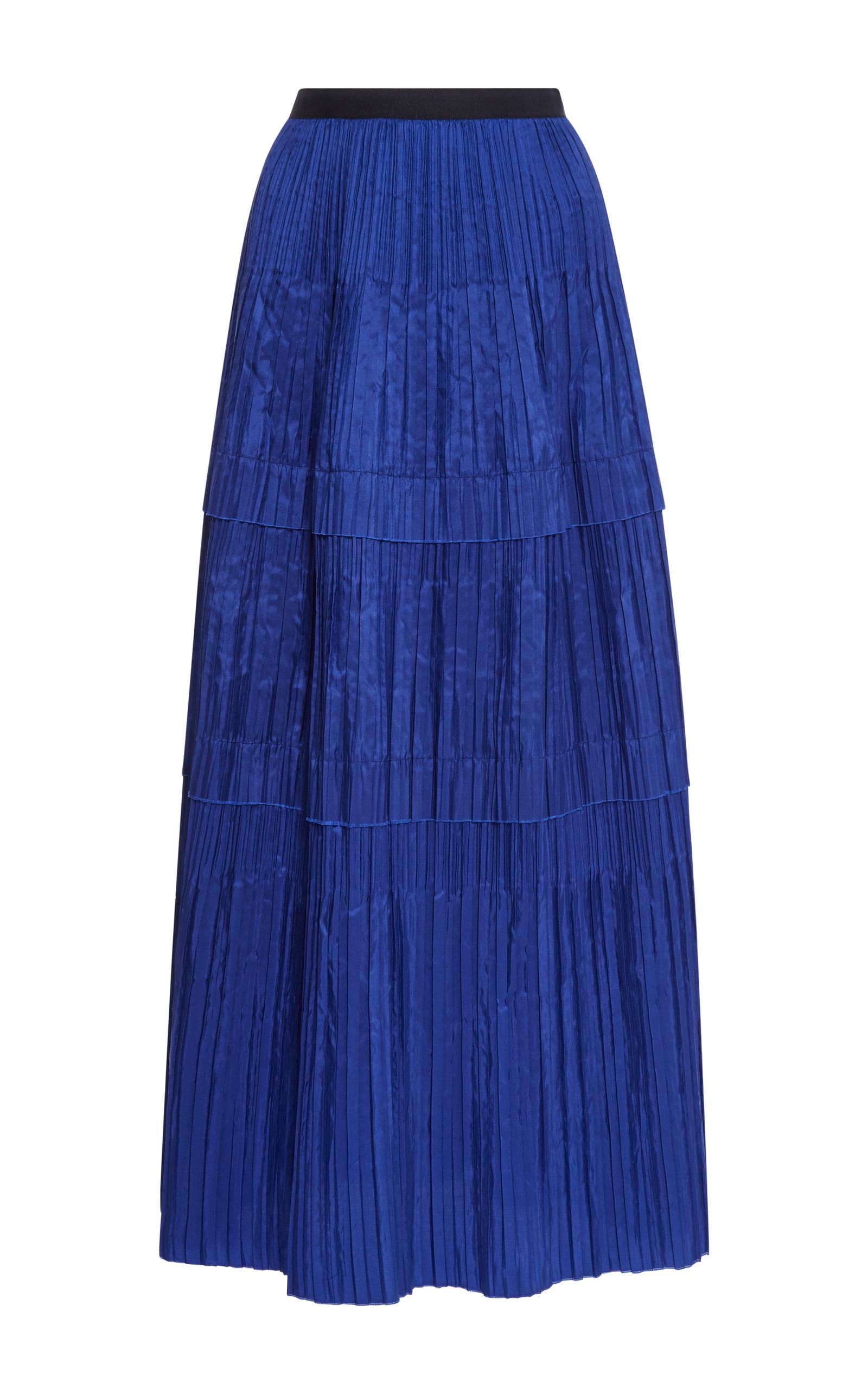 oscar de la renta tiered pleated silk maxi skirt blue
