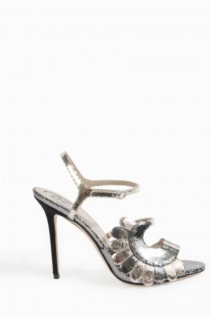 metallic stiletto sandals