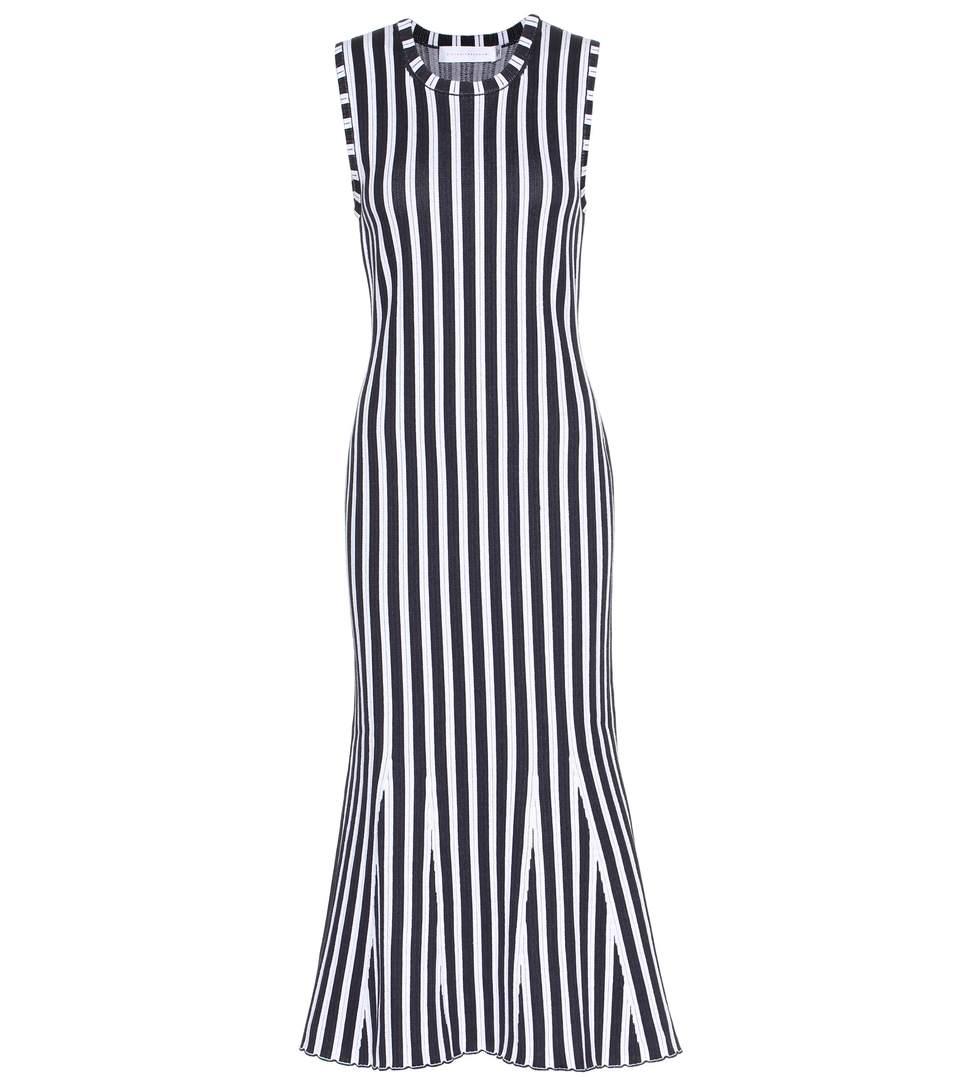VICTORIA BECKHAM Wide-Stripe Intarsia Kick-Flare Dress, Multi Pattern in White-Navy
