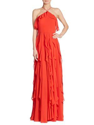 KAY UNGER Ruffled Halterneck Gown