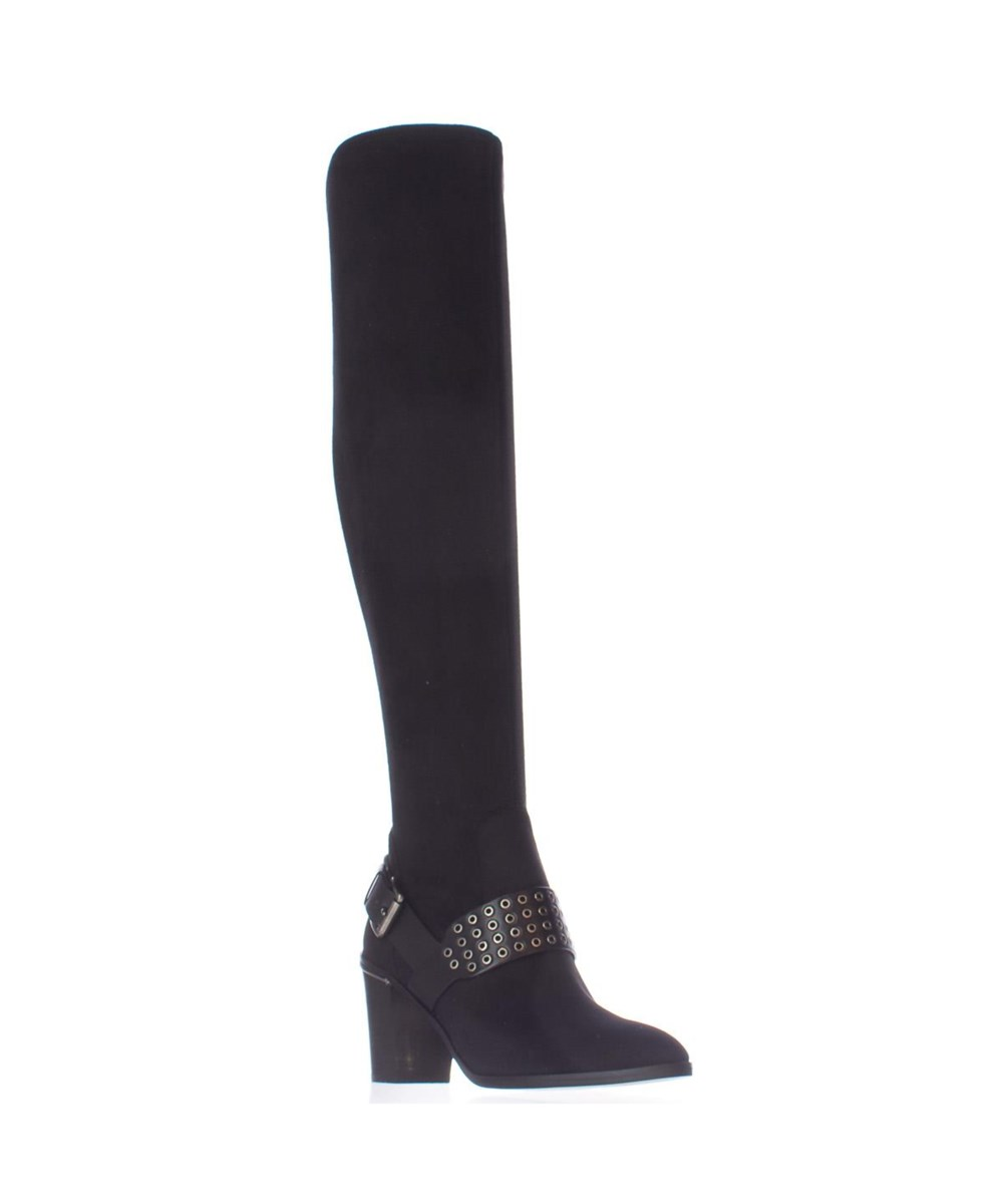 MICHAEL MICHEAL KORS BRODY WASHER STUDDED OVER THE KNEE BOOTS, BLACK