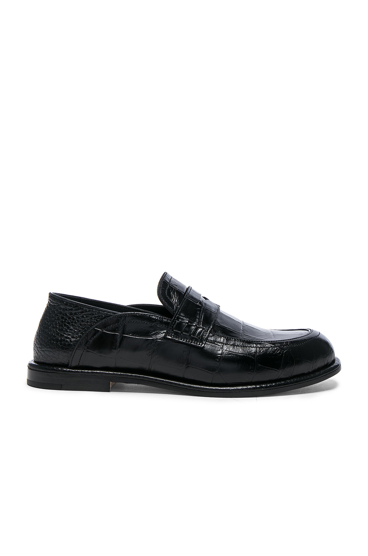 Foldable-heel crocodile-effect leather loafers
