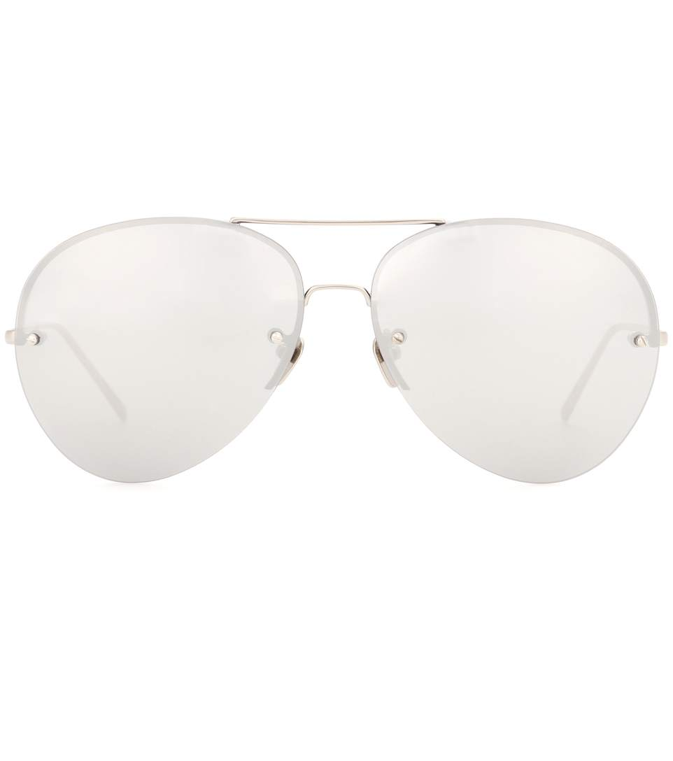e400cf5961f LINDA FARROW WHITE GOLD-PLATED MIRRORED AVIATOR SUNGLASSES