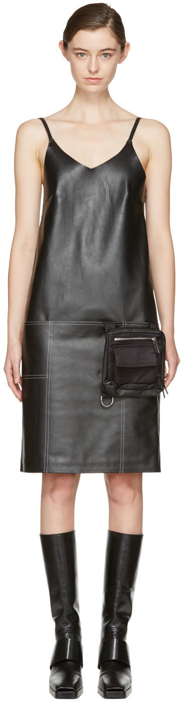 Black Leather Apron Dress